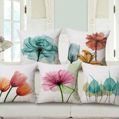 "18"" Flower Printed Pillowcase Cotton Linen Pillow Case Sofa Cushion Pillow Cover"