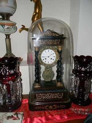 Glass Dome Clock French Victorian