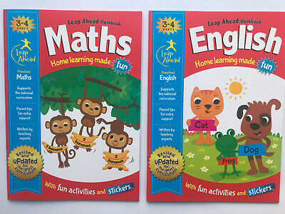 Leap Ahead Home Learning Made Fun Workbook English  Maths age 3-4 with stickers
