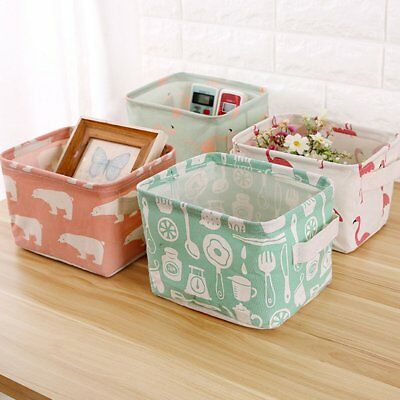 Foldable Storage Collapsible Folding Box Organizer Case Fabric Cube Room Basket@