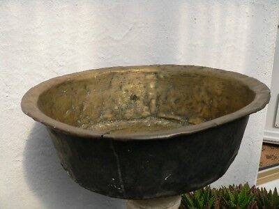 Antique 18c solid brass large bread pan