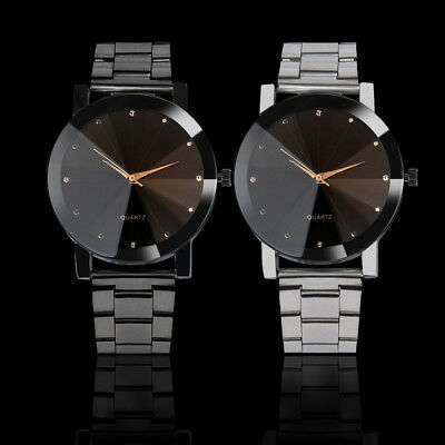 Men Luxury Bling Stainless Steel Band Quartz Sport Dial Crystal Wrist Watch