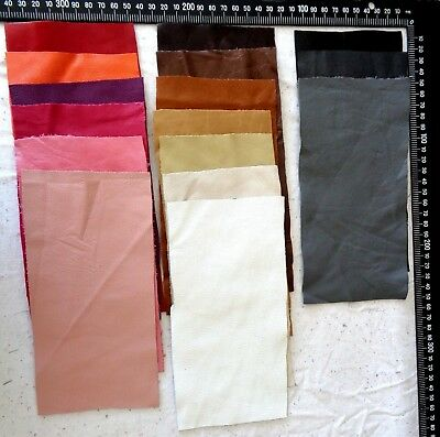 Brand New 10x10 cm 1 GENUINE LEATHER CUT PIECE for CRAFTS & HOBBIES - 16 colours