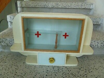 Old  Vintage  Wood&Glass  Red Cross  Medicine Cabinet Apothecary  Wall Chest