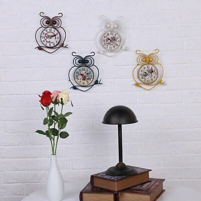 European Style Owl Shape Wall Hanging Clock Vintage Single Side Wall-mounted EF