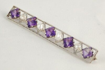 Vintage Art Deco 14k White Gold Square Amethyst Freshwater Pearl Bar Pin Brooch