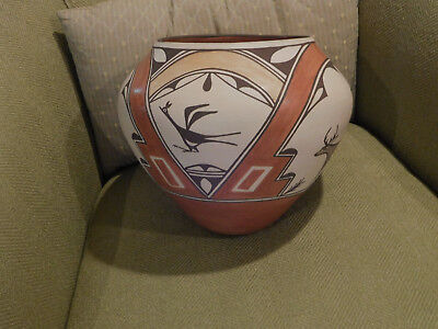 American Indian Pottery Zia Pueblo olla Jar lovely nice patina Helen Gachupin