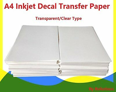 20 Sheets DIY A4 Inkjet Water Slide Decal Transfer Paper Transparent Clear for