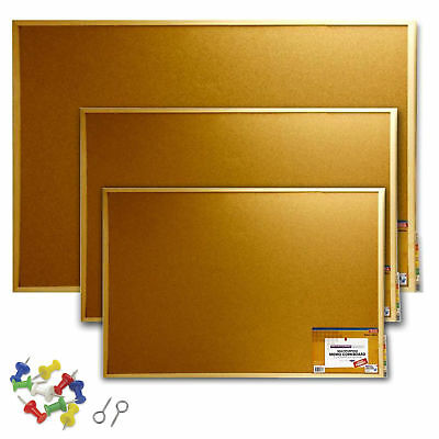 Memo Cork Board Office School Notice Display Message Board with Push Pins Hooks