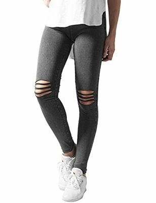 Schwarz XS Urban Classics Ladies Cutted Knee, Leggings Donna,  (Acid Black (ev8)
