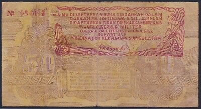 Indonesia 50 Rupiah 1948 Local B Tingghi Issue With S Sumatra Stamp Pick