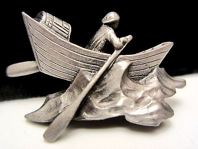 "Cool Vintage 1-1/4"" Pewter Dimensional Fisherman on Boat Figural Pin Brooch A77"