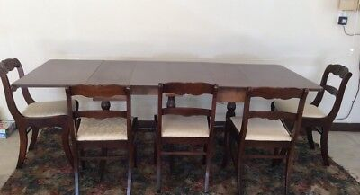Duncan Phyfe Style Mahogany Dining Table & 5 Chairs Set- local pickup only