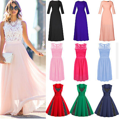 Damen Lang Maxi Partykleid Abendkleid Cocktail Brautjungfern Ballkleid Gr.38-50