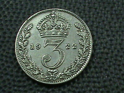 GREAT BRITAIN   3 Pence  1922   SILVER   ,   $ 2.99  maximum  shipping  in  USA