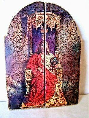 Wooden hinged triptych Jesus Madonna and Child religious icon tri fold  screen