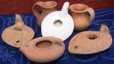 Set terracotta oil lamp Replica Ancient Biblical Israel Holyland Judaica Nazaret