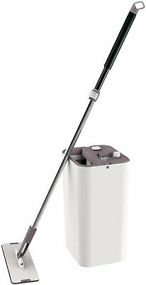 Cleantec Magic Flat Mop With Bucket System and 360 Degree Swivel Wand, Beige, 14