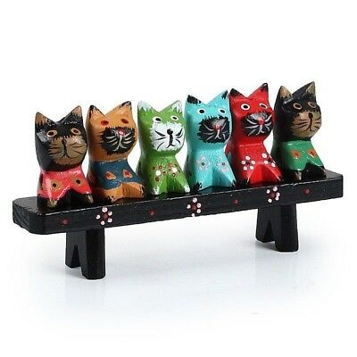 Wooden Cute Family Cat Handmade Art Wood Display Hand Carved Home Decor Gift New