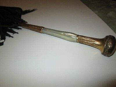 Antique Parasol Umbrella Handle 14K Rolled Gold Mother of Pearl Metalwork