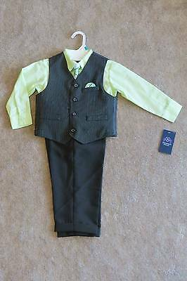 New Jonathan Strong Toddler Boy's Black Pinstriped Vest Set/Suit 4 Pc Size 3T