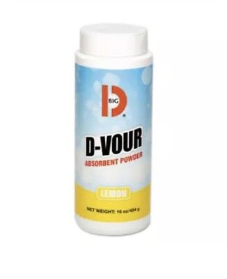 Big D Industries D-Vour Absorbent Powder, Canister, Lemon, 16oz, 6/carton  166 N