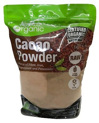 Absolute Organic Cacao Powder 1kg Certified Organic Superfood Gluten Free Vegan