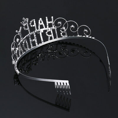 Frcolor Rhinestone Happy Birthday Tiara Headwear Headband Girl Crown with Combs