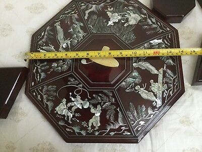F3339: vintage Chinese/Korean Wooden Lacquer Box inlaid Mother of Pearl