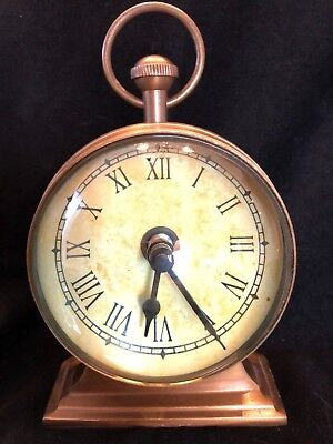 Vintage Brass Clock Tabletop Shelf Convex Glass Battery Operated