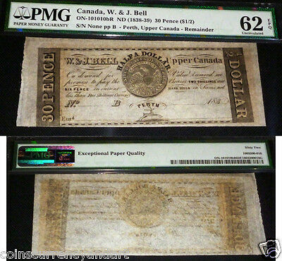1838- 39 - W.&J. Bell  $1/2 Dollar / 30 Pence Upper Canada  PMG 62 UNCIRCULATED