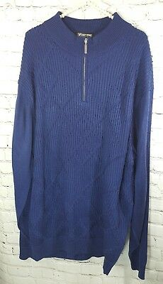 Stacy Adams Men's Sweater Zip Up Navy Cable Knit Thick Long Sleeve Size 2XLT