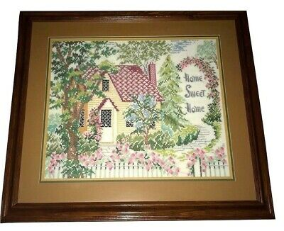 Vintage Completed Needlepoint Victorian Colonial French Home Sweet Home Framed