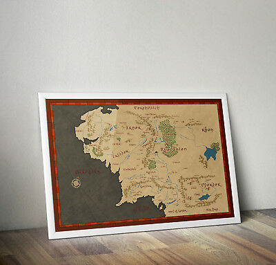 LORD OF THE rings map of middle earth poster print wall art decor ...