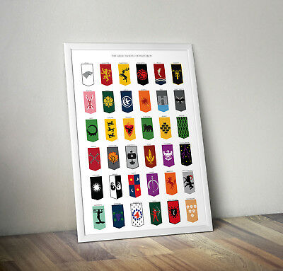 Game of thrones inspired poster print wall art gift merchandise westeros GoT