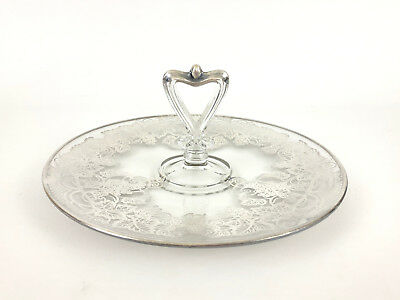 vintage sterling silver on clear glass, sandwich plate 1940's 1950'd