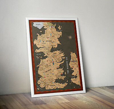 Game of thrones inspired map of westeros poster print wall art gift merchandise