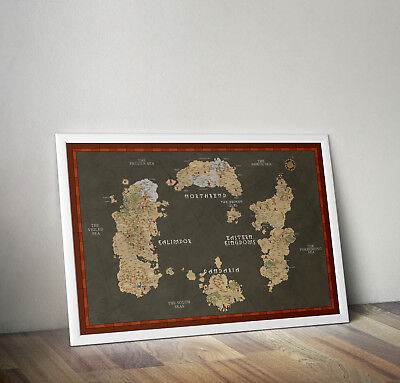 world of warcraft inspired map of azeroth print poster wall art gift merchandise