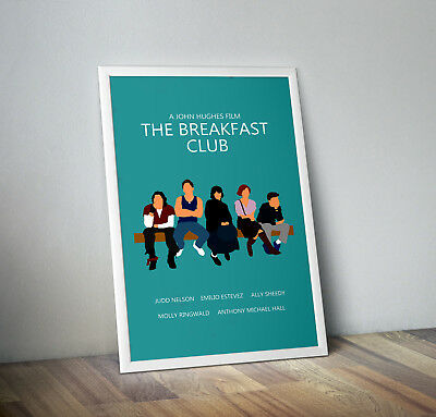 the breakfast club poster print wall art decor retro 80's movie brat pack