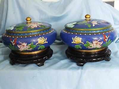"""Chinese Cloisonne Lidded Bowls Rare Pair Large 9"""" d. with stands"""
