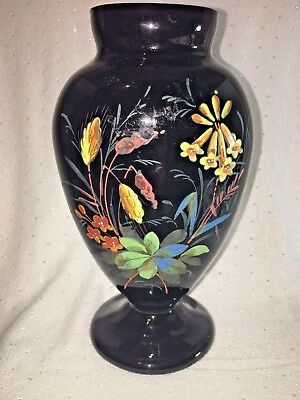 Antique Hand Made & Decorate 19th Century English Victorian Black Glass Vase