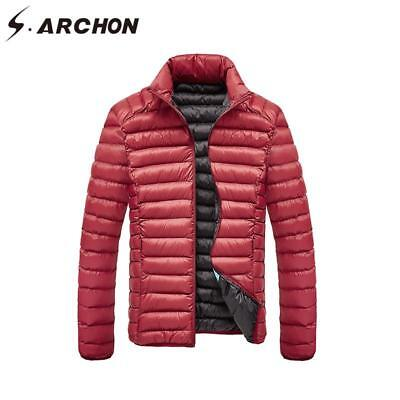 Men's Jacket Thicken Casual Parka Cotton Lightweight Stand Collar Air Force Coat