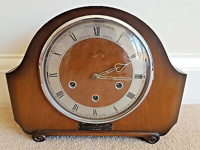 Vintage British Smiths Clock The Alexander Clark Chime Mantle Solid Wood Heavy