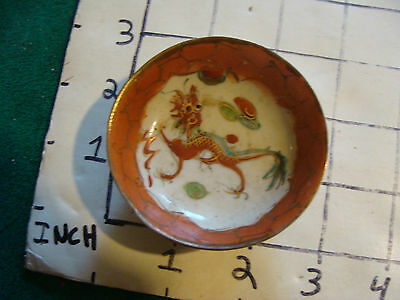 vintage Japanese tiny small bowl, Chipped around edge.