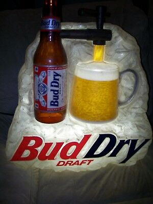 13e4eb6c70 BUDWEISER BUD DRY Cold Filtered Draft Pouring Beer Sign Light Man Cave Rare