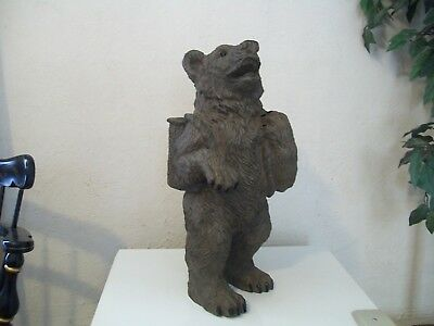 Large Black Forest Bear Carving Resin Hand Painted Amazing Quality