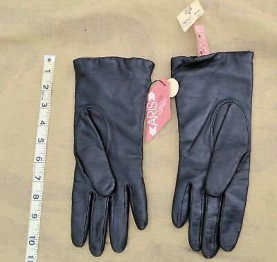 New Vintage Aris Ladies Black Leather Gloves Cashmere Lined size 8 Women's