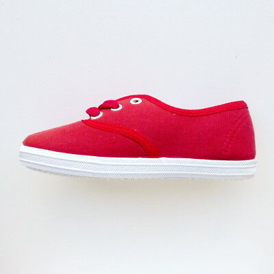 Girls Red Low Top Cotton Canvas Trainer Shoe Lace Up