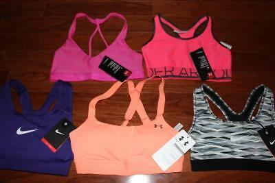 Lot 5 Under Armour Nike Womens Sports Bras Pro Classic Mid-Impact Low-Impact Xs