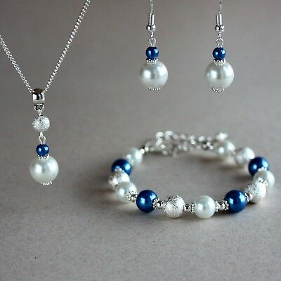 White and dark blue pearls necklace bracelet earrings silver wedding bridal set